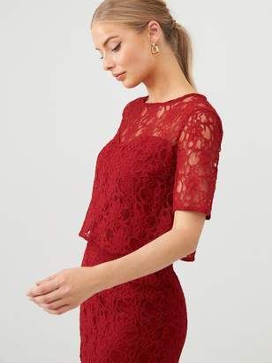 Very Floral Lace Overlay Pencil Dress - Burgundy
