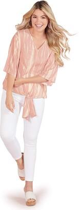 Mud Pie womens (Medium/Large Women Blush Jolene Tie Front Top Medium Large