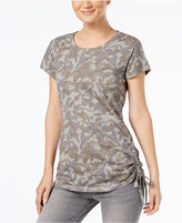 INC International Concepts Side-Ruched Cotton Camo Top, Created for Macy's