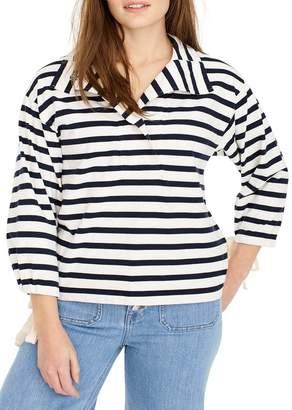 J.Crew J. Crew Stripe Snap Neck Sweatshirt