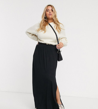Asos DESIGN Curve shirred waist maxi skirt-Black