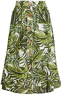BCBGeneration Palm Frond Print Midi Skirt