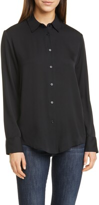 Nordstrom Signature Long Sleeve Stretch Silk Button-Up Shirt