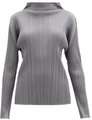 Pleats Please Issey Miyake High-neck Technical-pleated Top - Dark Grey