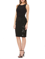 Carmen Marc Valvo Sleeveless Crepe Dress with Sequin Lined Side Ruffle
