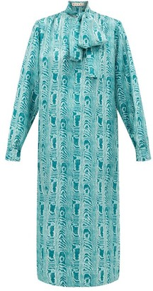 Marni Tie-neck Silk Midi Dress - Womens - Green Multi