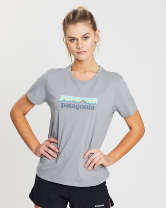 Patagonia Women's Grey Printed T-Shirts - Pastel P-6 Logo Organic Crew T-Shirt - Size One Size, S at The Iconic