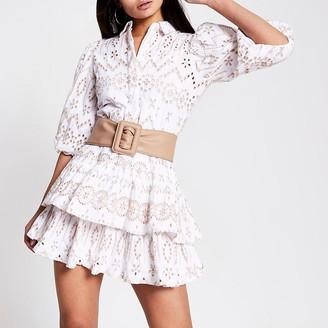 River Island Beige broderie puff sleeve shirt mini dress