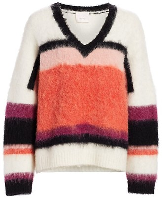 Cinq à Sept Isabella Striped Fuzzy Sweater
