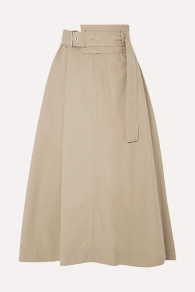3.1 Phillip Lim Belted Cotton-blend Poplin Midi Skirt - Beige