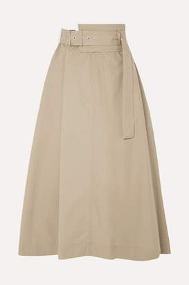 3.1 Phillip Lim Belted Cotton-blend Poplin Midi Skirt - Beige