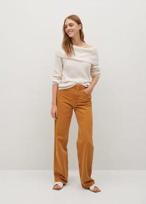 MANGO Boat neck knit sweater ecru - XS - Women