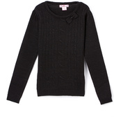 Pink Angel Black Metallic Cable-Knit Bow Sweater - Infant & Girls