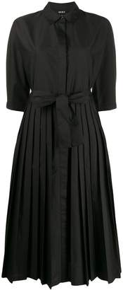 DKNY belted pleated shirt dress