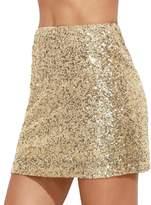 Verdusa Women's Above Knee Sequin Sparkle Mini Skirt M