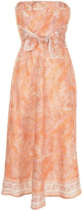 Zimmermann Paisley-Print Strapless Dress