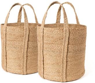 Korissa Kata Basket With Handle In Natural - Set of 2