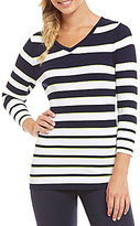 Nygard Collection Peter Nygard Performance Striped Ribbed Tee