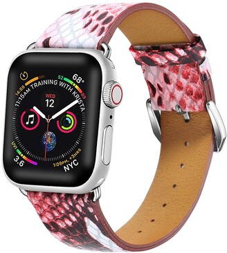 Posh Tech Red Snakeskin Embossed Leather 42mm Apple Watch 1, 2, 3, 4 Band