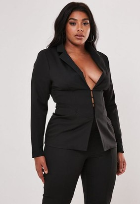 Missguided Plus Size Black Co Ord Corset Detail Tailored Blazer