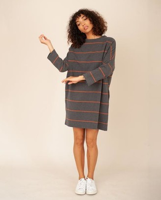 Beaumont Organic Sarasi Sue Organic Cotton Dress In Grey Marl Cinnamon - Grey Marl & Cinnamon / Extra Small