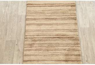 "Isabelline One-of-a-Kind Lacayo Gabbeh Shiraz Persian Modern Hand-Knotted 2'8"" x 6'4"" Wool Beige/Brown Area Rug Isabelline"