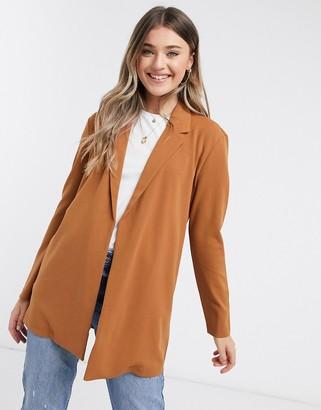 JDY geggo long line blazer in brown