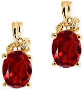 Gem Stone King 2.81 Ct Checkerboard Red Garnet and White Diamond 14k Yellow Gold Earrings