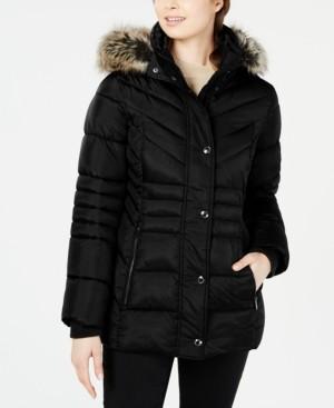 London Fog Hooded Faux-Fur-Trim Puffer Coat