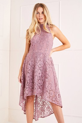 Yumi Lace Halter High Low Dress