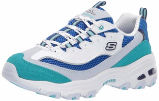 Skechers D'LITES-SECOND CHANCE Girl's Low-Top Trainers White (White Blue & Turquoise Leather/Blue Mesh/Gray & Navy Trim Wbl) 2 UK (35 EU)