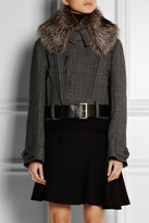 Marni Racoon-trimmed wool-blend tweed jacket