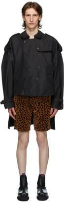 R 13 Black Tuck-In Trench Coat