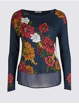 Per Una Floral Print Round Neck Long Sleeve T-Shirt