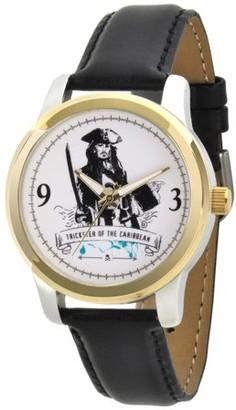 Disney Pirates of the Caribbean 5 Captain Jack Sparrow Men's Two Tone Alloy Watch, Black Leather Strap