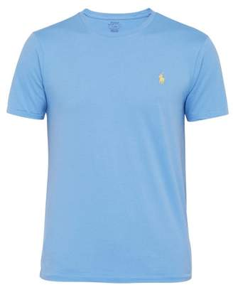 Polo Ralph Lauren Logo Embroidered Cotton Jersey T Shirt - Mens - Blue