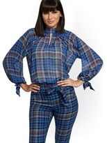 Thumbnail for your product : New York & Co. Petite Plaid Mock-Neck Tie-Sleeve Blouse - 7th Avenue |