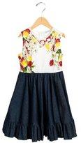 Dolce & Gabbana Girls' Lemon Print Floral-Adorned Dress