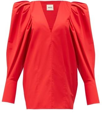KHAITE Connie Puff-sleeve Cotton Top - Womens - Red