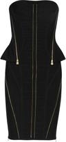 Herve Leger Zip-embellished bandage peplum dress