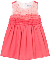 Mayoral Coral Ombre Frill Front Crepe Dress