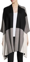 Joan Vass Colorblock Poncho Wrap, Black/White