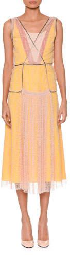 Bottega Veneta Sleeveless V-Neck Lace Midi Cocktail Dress with Contrast Slip