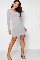 boohoo Long Sleeve Scoop Neck Bodycon Dress