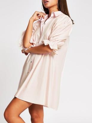 River Island Pleat Sleeve Shirt Dress - Pink
