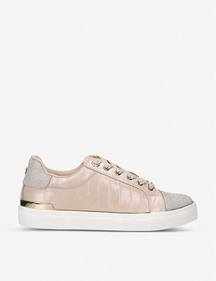 Miss KG Kingy glitter-woven and croc-embossed faux-leather low-top trainers