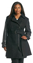Gallery Plus Size Wool Walker Coat With Faux Leather Sleeves