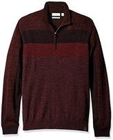 Calvin Klein Men's Merino Stripe Quarter Zip Sweater