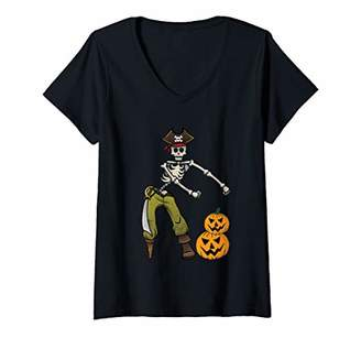Womens Flossing Skeleton Pirate Pumpkin Halloween & Thanksgiving V-Neck T-Shirt