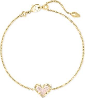 Kendra Scott Ari Heart Delicate Chain Bracelet Gold Magenta Magnesite One Size